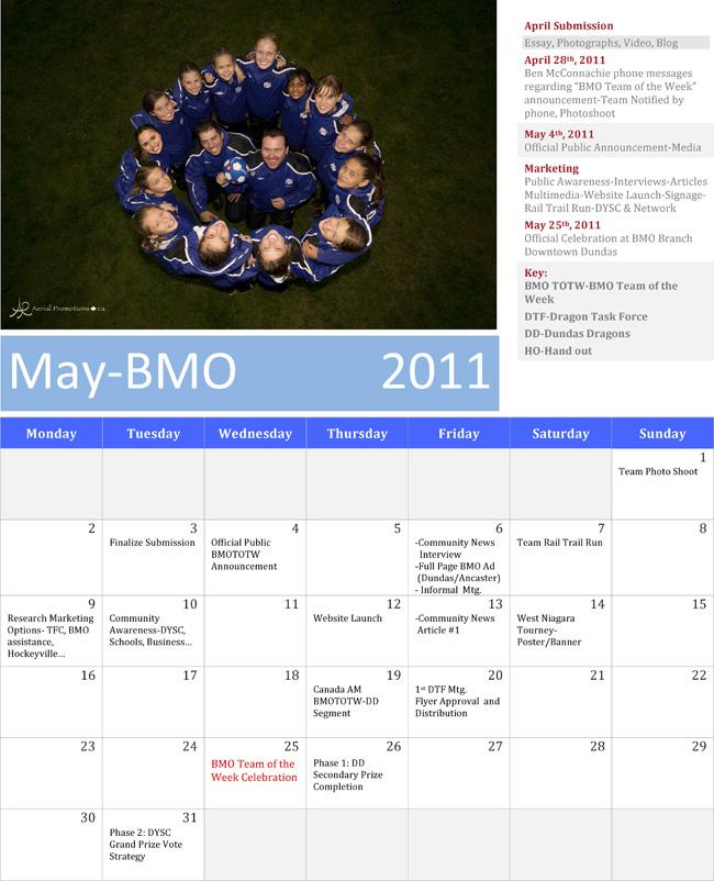 BMO Team of the Week May Calendar